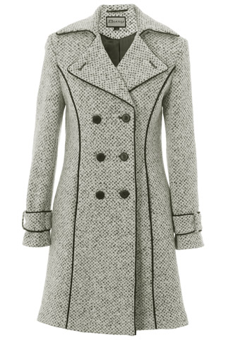 Click for larger image of: White & Black Tweed Coat 3/4 Style: 44474